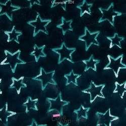 Fourrure Verte Brodée de Sequins en forme Étoiles