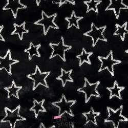 Fourrure Noir Brodée Sequins Étoiles Argent