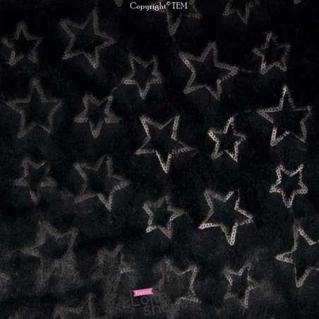 Fourrure Noire Brodée Sequins Étoiles Noires