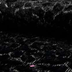 Fourrure Noire Brodée Petits Sequins Argent