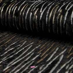 Fourrure Noire Brodée de Sequins Or & Argent