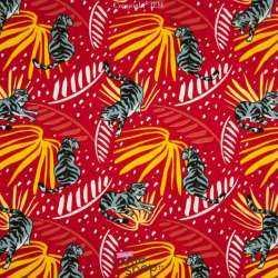 Jersey Coton Imprimé Motif Tigre Fond Rouge