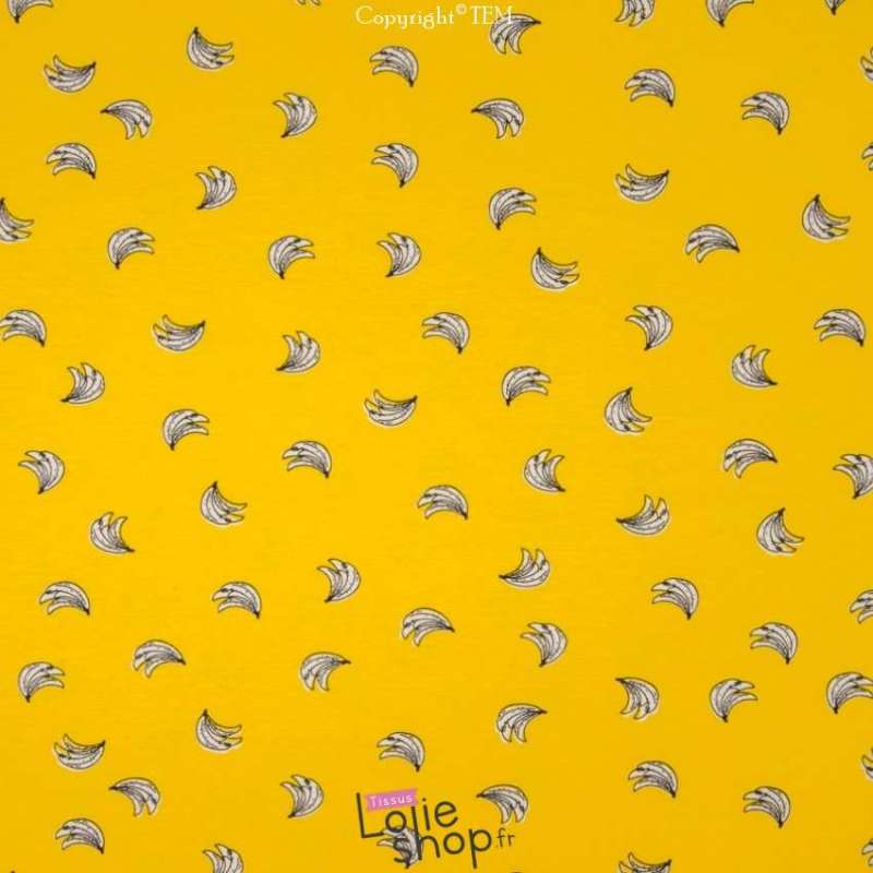 Jersey Coton Imprimé Motif Bananes Fond Jaune