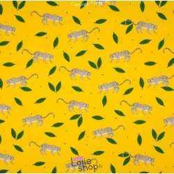 Jersey Coton Imprimé Motif Tigre Fond Jaune