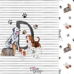 Panneau Jersey Coton Imprimé lettre prénom D ou chien Dalmatien