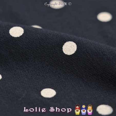 Molleton Coton Imprimé Motif Pois Blanc Fond Marine