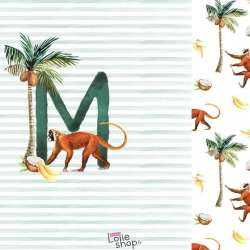 Panneau Jersey Coton Imprimé lettre M pour prénom et singe