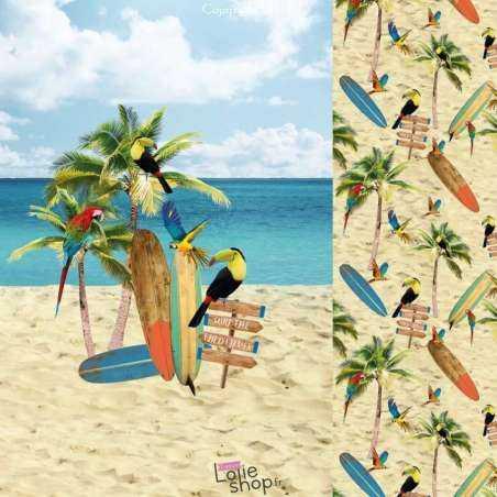 Panneau Jersey Coton Imprimé Thème Plage toucan perroquet tropique