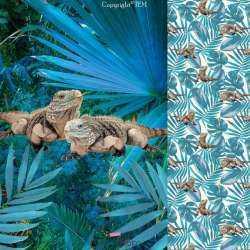 Panneau Jersey Coton Imprimé Thème Iguane tropique amazonie