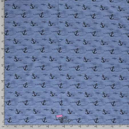 Jersey Coton Imprimé Motif Ancres Fond Bleu Indigo