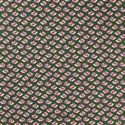 Jersey Coton Imprimé Motif Hérisson Fleuri Fond Vert