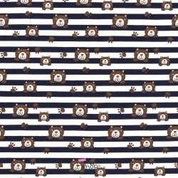 Jersey Coton Imprimé Motif Rayures Marine et Ourson