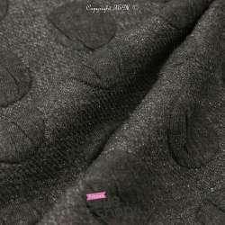 Tissu Jersey Matelassé à Motif Gros Pois Noir