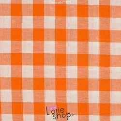 Popeline Coton Vichy au metre pas cher seersucker 20 mm Orange Qjutie
