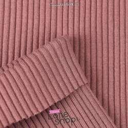Tissu Jersey Bord-côte à Grosse Maille Coton - Tissage maille Tubulaire Couleur Vieux Rose