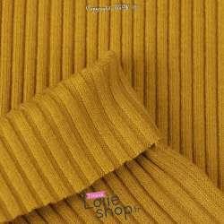 Tissu Jersey Bord-côte à Grosse Maille Coton - Tubulaire  Couleur Moutarde