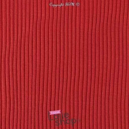 tissu Jersey  Bord-Côte Tubulaire Rouge