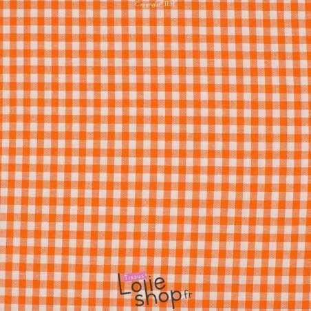 Popeline Coton Imprimé Vichy Carreau 5 mm Couleur Orange - 100% Coton