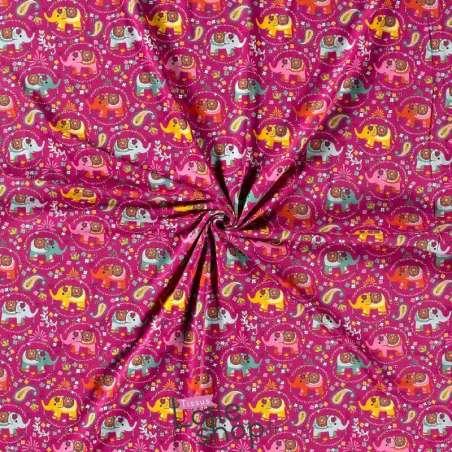 Jersey Coton Imprimé Modèle Éléphant Ton Fuchsia