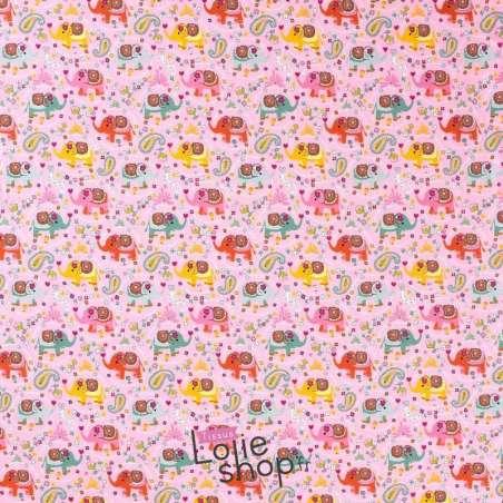 tissu Jersey Coton motif Éléphant Ton Rose