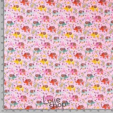 tissu Jersey CotonMotif Éléphant  Rose