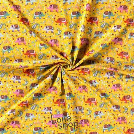 Jersey-Coton Imprimé Modèle  Motif Éléphant Ton Jaune
