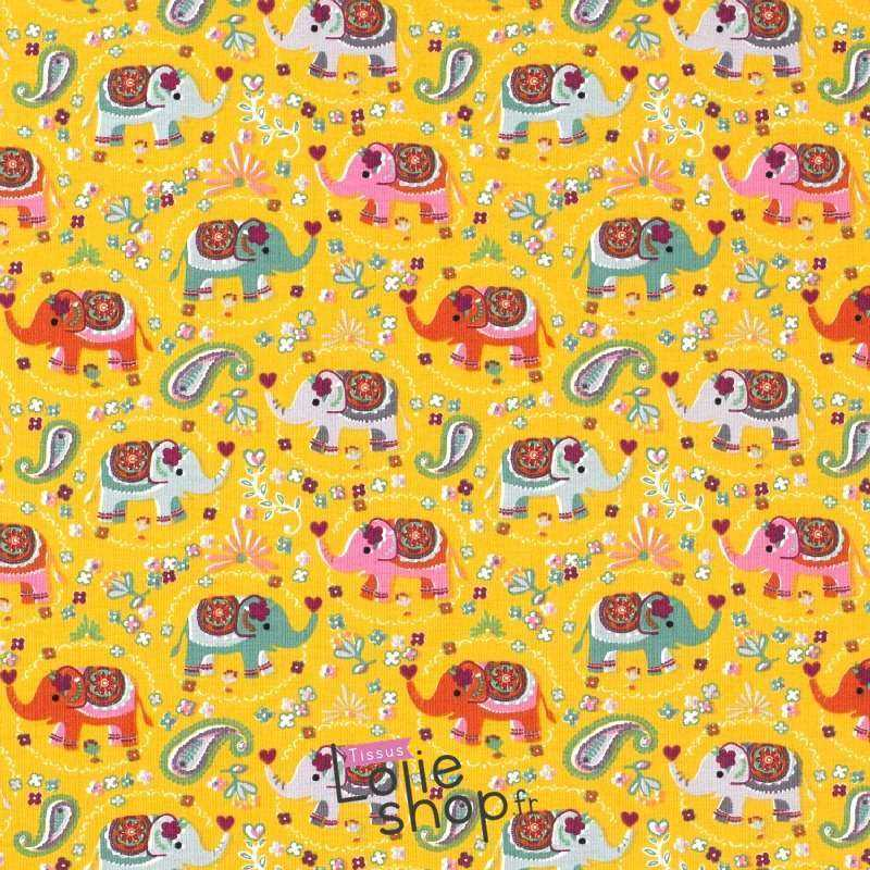 Tissu Jersey Coton Imprimé Motif Éléphant Ton Jaune