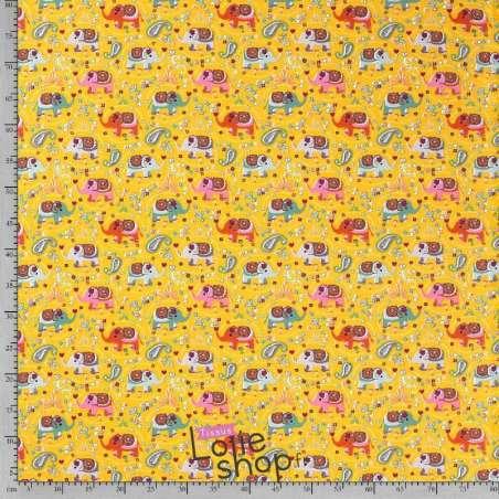 tissu Jersey Coton Motif Éléphant Jaune