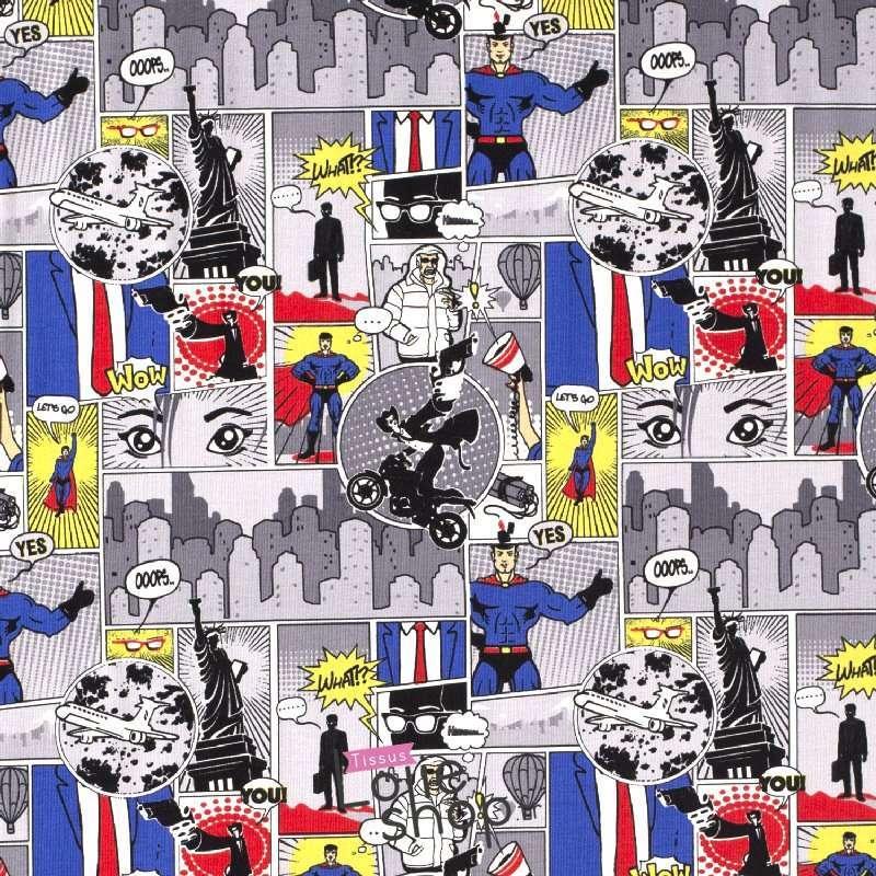 Jersey Coton Imprimé Motif Comics BOYS Ton Vert Gris