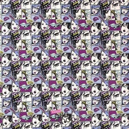 Jersey Coton Imprimé Motif Comics GIRL Ton Mauve