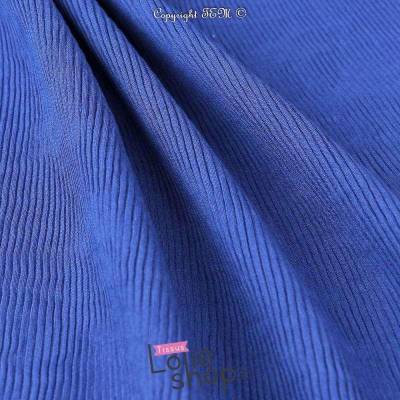 Tissu Viscose Plissé KIMI Couleur Bleu Roi