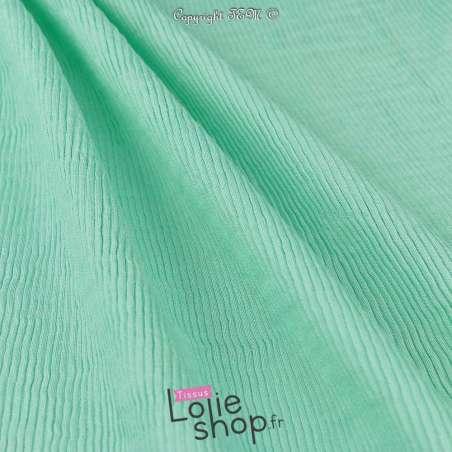 Tissu Viscose Plissé KIMI Couleur Vert d'eau