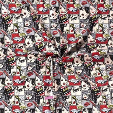 Jersey Coton Imprimé Motif Comics GIRL Ton Rouge