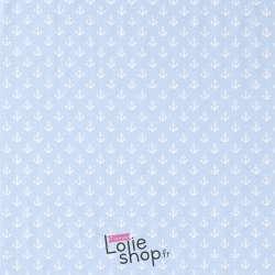 Jersey Coton Imprimé Motif Petites Ancres Fond Ciel