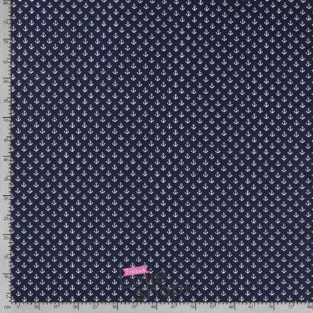 Tissu Jersey Coton Motif Petites Ancres Fond Marine