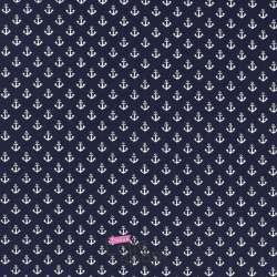 Jersey Coton Imprimé Motif Petites Ancres Fond Marine