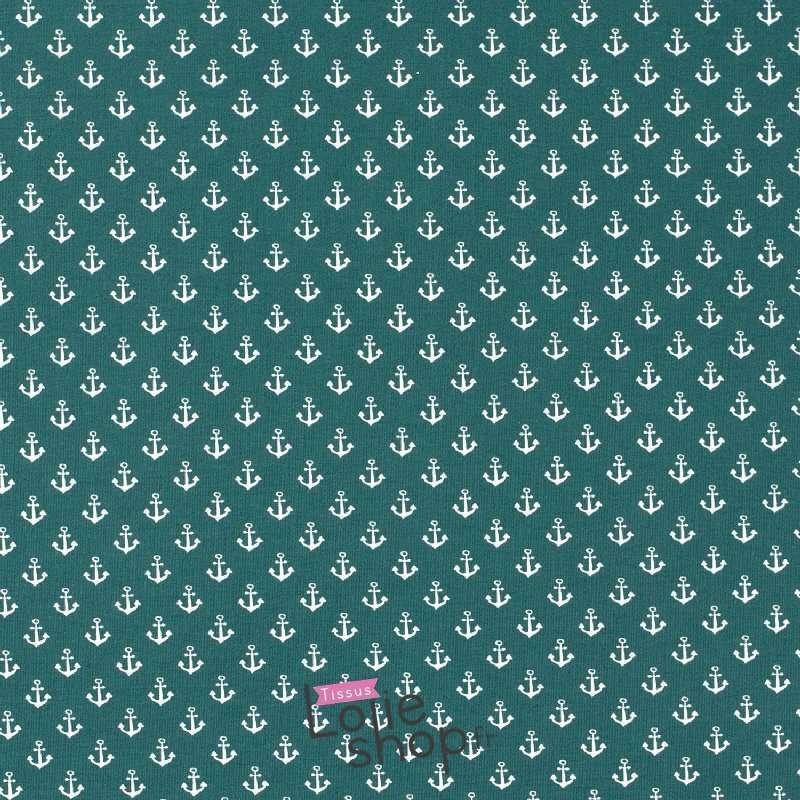 Jersey Coton Imprimé Motif Petites Ancres Fond Vert Sinople