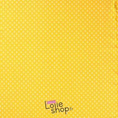 Tissu Jersey Coton Imprimé  Petites Ancres Fond Jaune