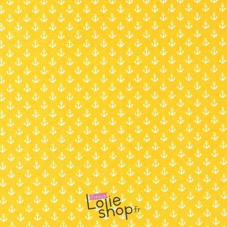 Tissu Jersey Coton Imprimé Motif Petites Ancres Fond Jaune