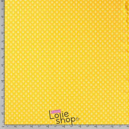 Tissu Jersey Coton Imprimé Motif Petites Ancres  Jaune