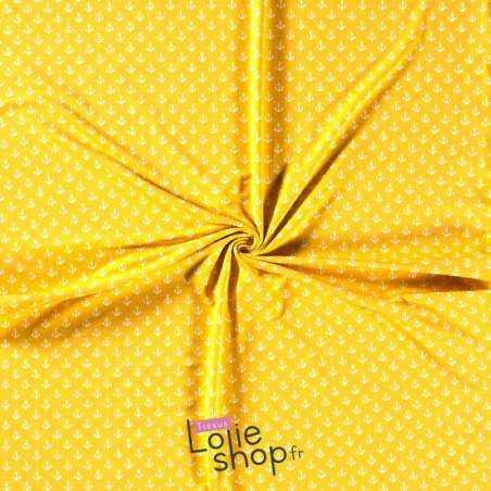 Jersey Coton Imprimé Motif Petites Ancres Fond Jaune