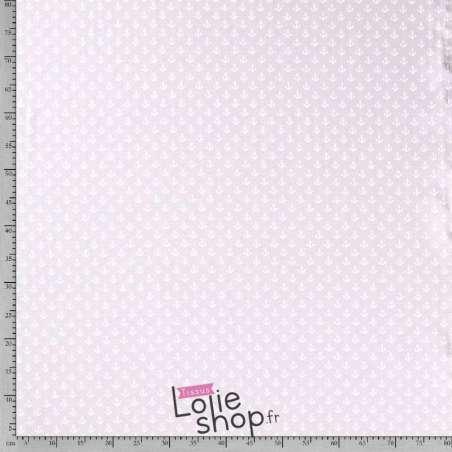Jersey Coton Imprimé Motif Petites Ancres Fond Azur Clair