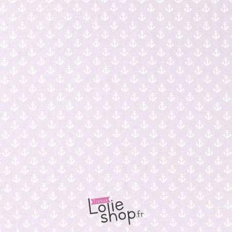 Tissu Jersey Coton Imprimé Motif Petites Ancres Fond Azur Clair