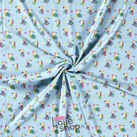 Jersey Coton Imprimé Motif TOUCAN Fond Bleu Ciel