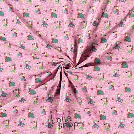Jersey Coton Imprimé Motif TOUCAN Fond Rose