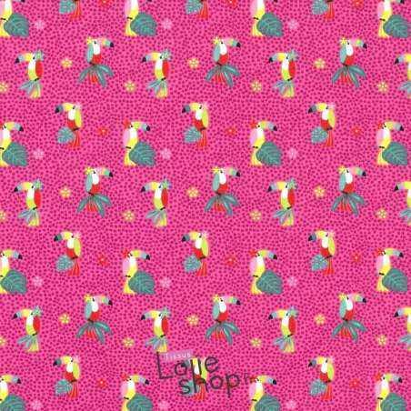 Jersey Coton Imprimé Motif TOUCAN Fond Fuchsia