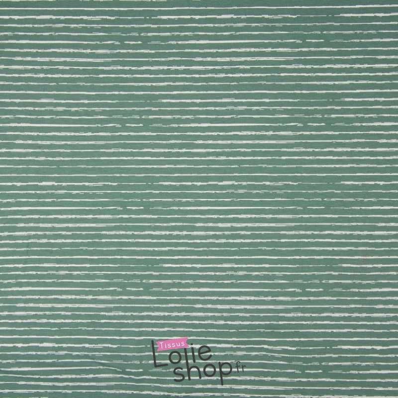 Popeline Coton STRIP Imprimé Lignes Difformes Vert