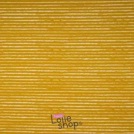 Popeline Coton STRIP Imprimé Lignes Difformes Ocre
