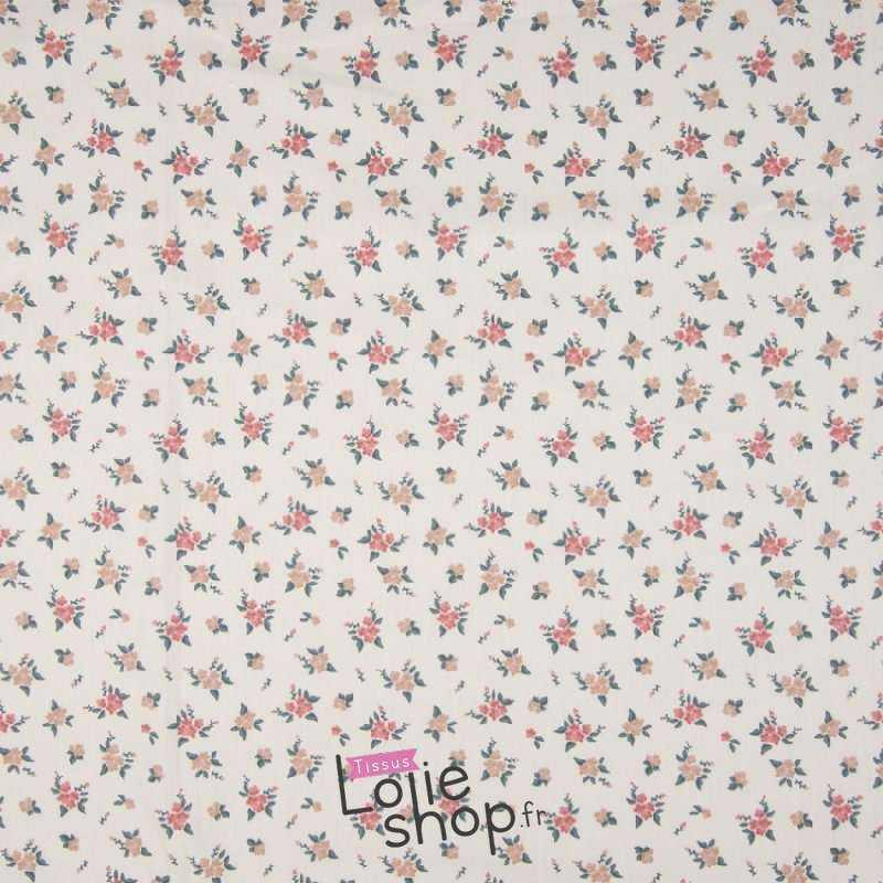 Popeline Coton FLOREA Imprimé petites Fleurs Fond Écru