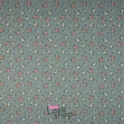 Popeline Coton FLOREA Imprimé petites Fleurs Fond Vert Sauge